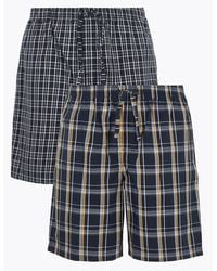 Marks & Spencer 2 Pack Cotton Checked Pajama Shorts - Blue