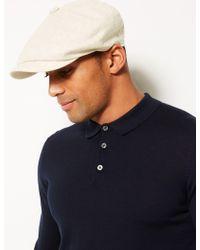 7ff49222b32 Marks   Spencer - Linen Rich Textured Baker Boy Hat - Lyst