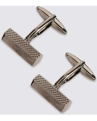 Marks and Spencer Metal Textured Cufflinks gunmetal xygQWycKv