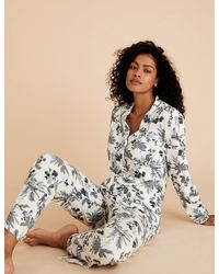 Marks & Spencer Cotton Modal Floral Pajama Set - White