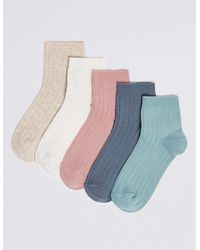 Marks & Spencer 5 Pack Ribbed Socks - Multicolor