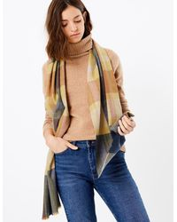 Marks & Spencer Checked Scarf - Blue