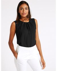 Marks & Spencer - Pleated Round Neck Vest Top - Lyst