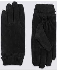 Marks & Spencer - Ribbed Suede Cuff Gloves - Lyst