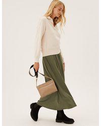 Marks & Spencer Jersey Maxi Skater Skirt With Tm - Natural