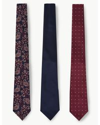 Marks & Spencer 3 Pack Paisley & Spot Ties - Blue