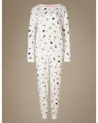 Marks & Spencer - Cotton Rich Llama Print Pyjama Set - Lyst
