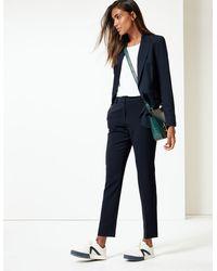 Marks & Spencer - Mid Rise Slim Leg Ankle Grazer Trousers Navy - Lyst