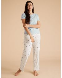 Marks & Spencer Cotton Bee Happy Slogan Pajama Set - Multicolor