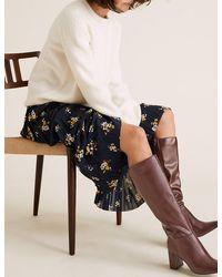Marks & Spencer Block Heel Square Toe Knee High Boots - Black