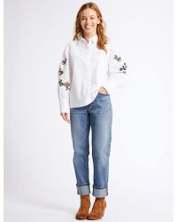 Marks & Spencer - Petite Mid Rise Relaxed Slim Jeans - Lyst