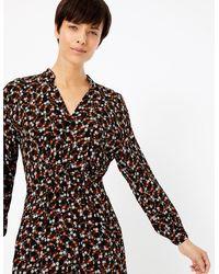 Marks & Spencer - Floral Print Waisted Midi Dress - Lyst