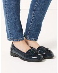 Marks & Spencer Patent Tassel Loafers - Blue