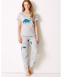 Marks & Spencer - Cotton Rich Dino-snore Print Pyjama Set - Lyst