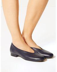 Marks & Spencer Leather High Cut Ballerina Pumps - Blue