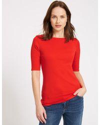 Marks & Spencer - Pure Cotton Slash Neck Half Sleeve T-shirt - Lyst