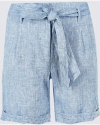 Marks & Spencer - Pure Linen Textured Casual Shorts - Lyst