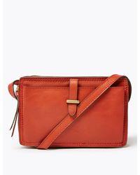 Marks & Spencer Leather Crossbody Camera Bag Burnt Orange - Brown