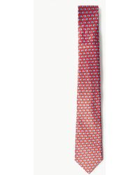 Marks & Spencer Pure Silk Elephant Print Tie - Red