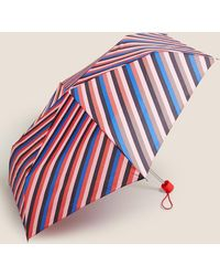 Marks & Spencer Striped Stormweartm Compact Umbrella - Pink