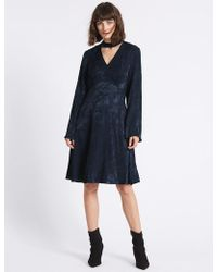 Marks & Spencer - Jacquard Flared Sleeve Swing Dress - Lyst