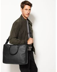 Marks & Spencer Leather Double Briefcase - Black