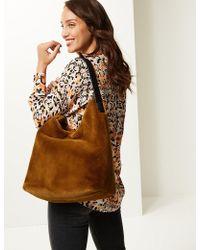 Marks & Spencer Faux Fur Shoulder Bag - Brown