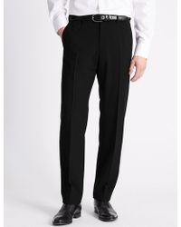 Marks & Spencer - Regular Fit Flat Front Trousers - Lyst