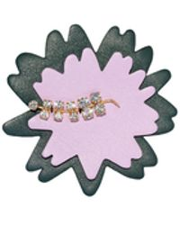 Marni | Brooch In Leather And Pink Crystals | Lyst