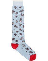 Marni - Silk Socks With Blue Floral Design - Lyst