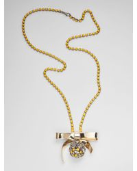 Marni - Bow Necklace In Metal And Rhinestones - Lyst