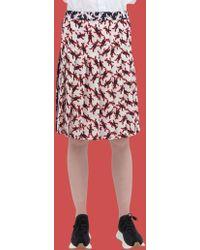 51c1ac498b Marni - Pleated Skirt In Poplin With Dance Bunny Print - Lyst