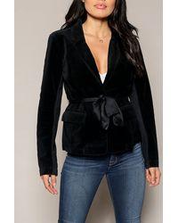 Marrakech Denise Belted Velvet Blazer - Black