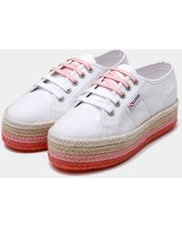 Mary Katrantzou Superga X Mk Espadrille Flatform Sneakers White Ombre