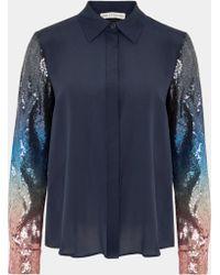 Mary Katrantzou Shane Shirt Ombre Blue