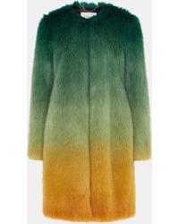 Mary Katrantzou Thalia Faux Fur Jacket Ombre Green