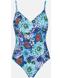 Mary Katrantzou - One-piece Swimsuit Paint By Numbers Turquoise - Lyst