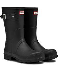 HUNTER - Original Short Wellies Rain Boots - Black - Lyst