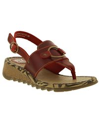 Fly London - Tune Leather Wedge Toe Post Sandals - Red - Lyst
