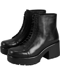 Vagabond Dioon Leather Chunky Platform Ankle Boots - Black - 4847-101