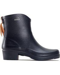 Aigle Miss Juliette Bottillon Wellies Chelsea Rain Boots - Noir - Blue