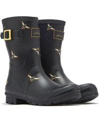 Joules Molly Mid Height Printed Welly Rain Boot - Black
