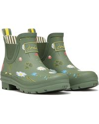 Joules - Wellibob Short Wellies - Green Floral - Lyst