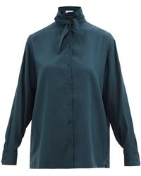 Lemaire タイネック シルククレープシャツ - グリーン