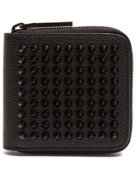 Christian Louboutin - Panettone Spike-embellished Square Leather Wallet - Lyst