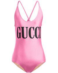 Gucci Logo Print Bodysuit - Pink