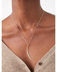 Mizuki Crescent Diamond, Pearl & 14kt Gold Necklace - Multicolor