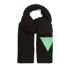 Bottega Veneta トライアングルパッチ ウールスカーフ - ブラック