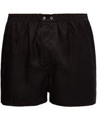 Derek Rose Woburn Satin-striped Silk Boxer Shorts - Black