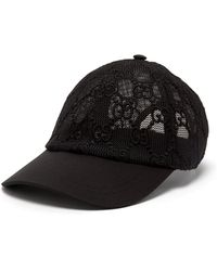 Gucci GG Embroidered Cotton Lace Baseball Cap - Black
